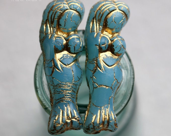 GOLDEN SKY MERMAID .. New 2 Premium Matte Czech Glass Mermaid Beads 5x25mm (7899-2)