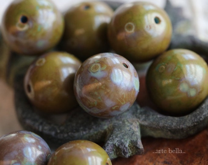 AVOCADO MARBLES 10mm .. 10 Premium Picasso Czech Glass Druk Beads (6466-10)
