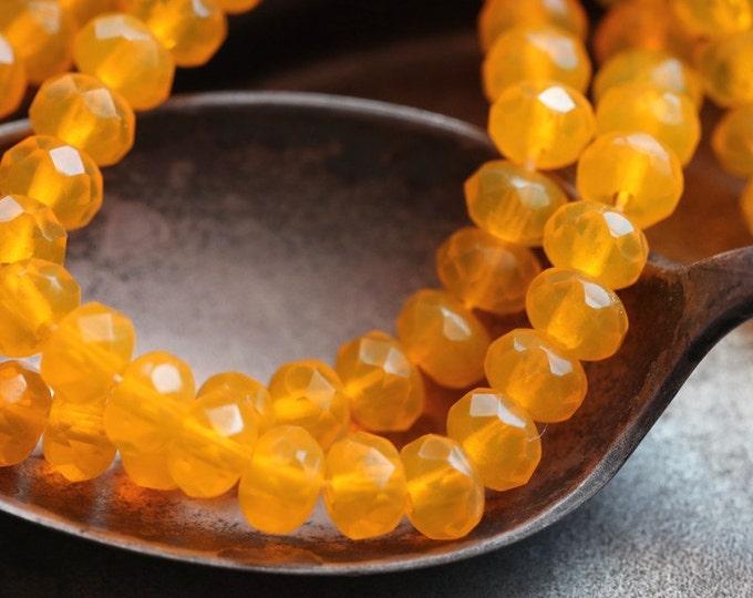 SUNFLOWER POPS ..  30 Premium Czech Rondelle Glass Beads 3x5mm (5295-st)