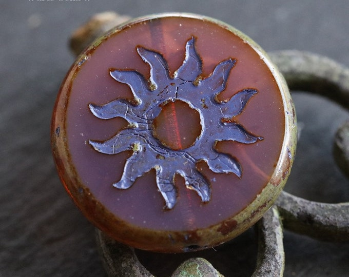 VIOLET ROSEWOOD RAYS .. 1 Premium Picasso Czech Glass Sun Coin Bead 22mm (6687-1)