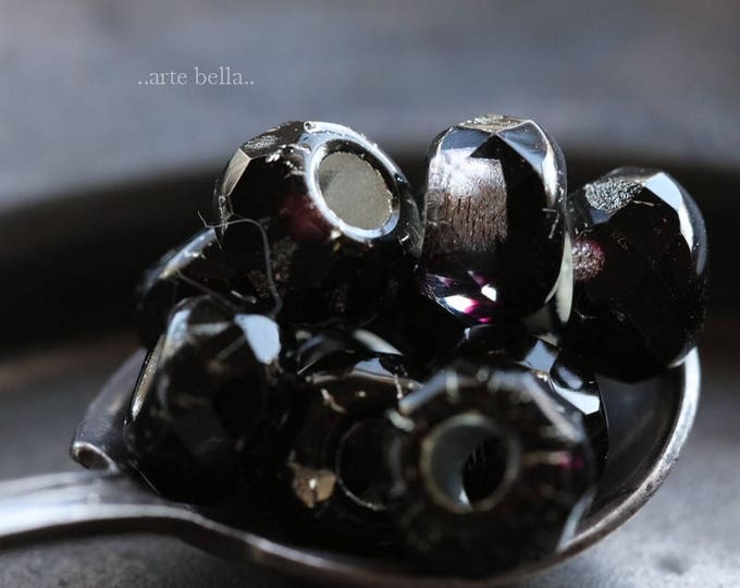 BLACK PLUM ROLLERS .. 10 Premium Czech Glass Large Hole Roller Beads 6x9mm (6078-10)
