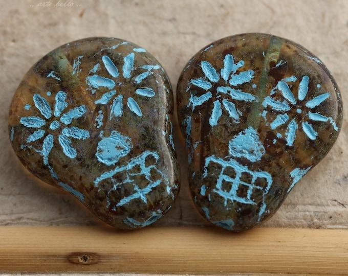 AMBER BLUE SKULLS .. 2 Premium Picasso Czech Glass Sugar Skull Beads 20x17mm (5506-2)