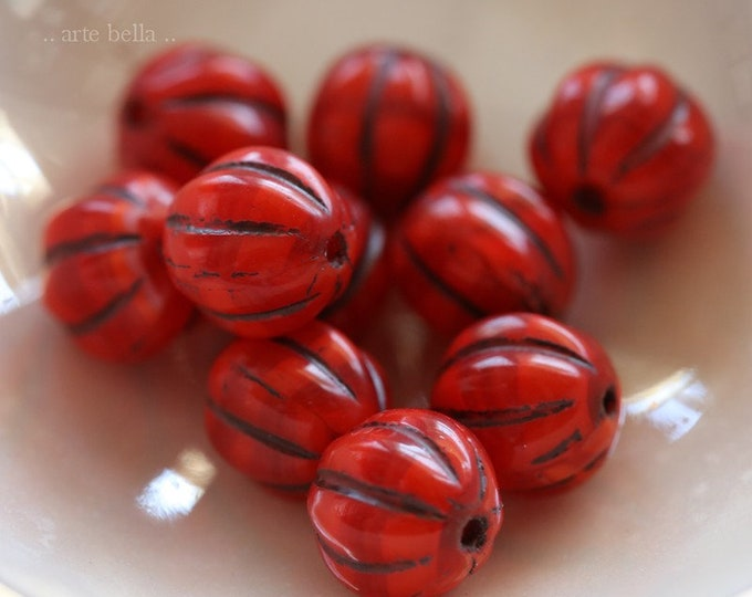 LAVA MELONS 8mm .. 10 Premium Picasso Czech Glass Melon Beads (7176-10)