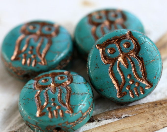TEAL HOO HOO .. 4 Picasso Czech Glass Owl Coin Beads 14mm (6306-4)