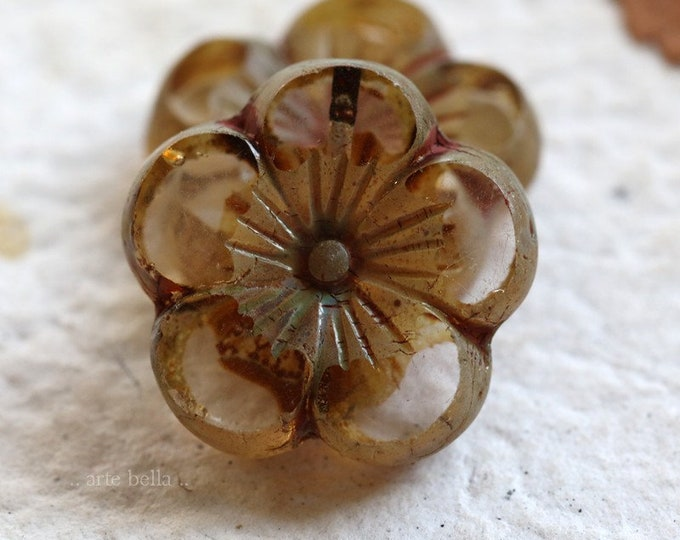 sale .. WHISPER BLOOMS .. 2 Premium Picasso Czech Glass Flower Beads 22mm (6747-2)
