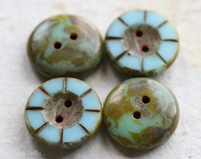 sale .. SKY MOSS BUTTONS .. 4 Premium Picasso Czech Glass Coin Buttons 14x5mm (7809-4)