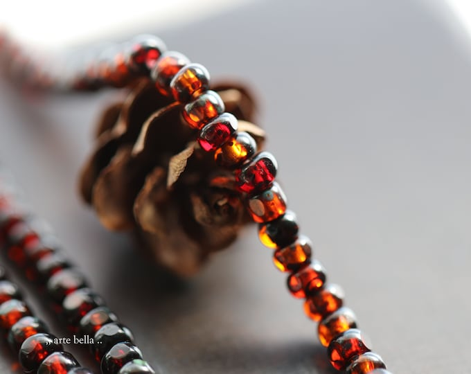 CRANBERRY ORANGE SEEDS .. New 100 Premium Picasso Czech Glass Tri-Cut Seed Beads Size 6/0 (9183-100)