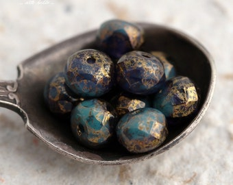 GILDED VIOLETS .. 10 Premium Picasso Czech Glass Rondelle Beads 5x7mm (5500-10)