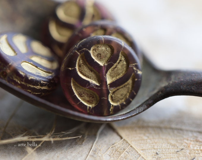 GOLDEN GRAPE MONSTERA Leaves .. New 4 Premium Matte Czech Glass Monstera Leaf Beads 14mm (9191-4)