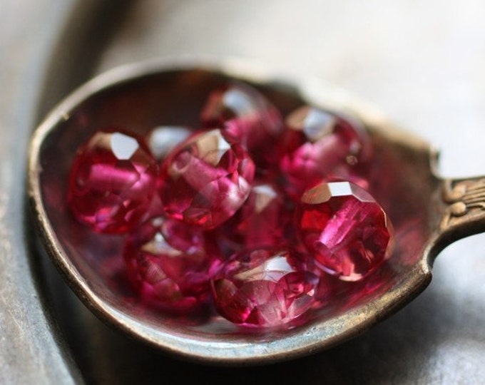 PINK POPPIES .. 10 Premium Fire Polished Pink Czech Glass Beads 6x4mm (168-10)