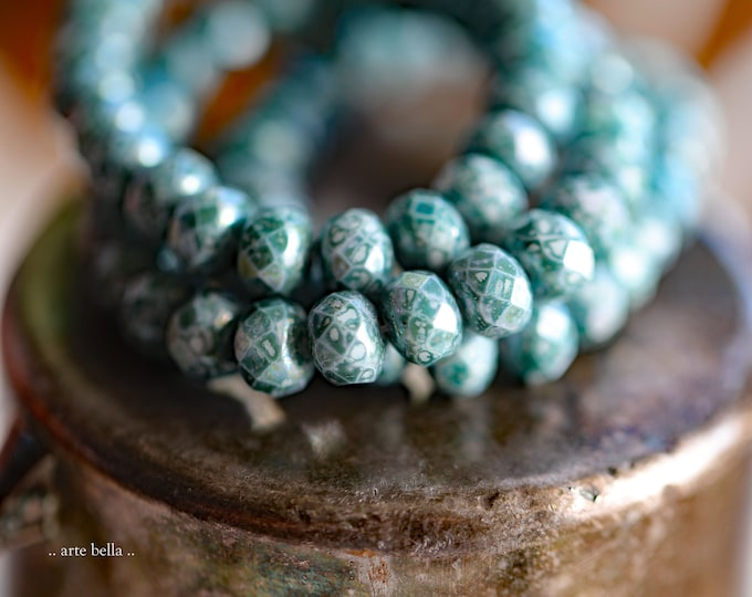 JUNIPER .. NEW 25 Premium Picasso Czech Glass Faceted Rondelle Beads 5x7mm (9182-25)