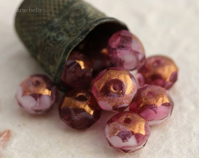 GILDED AZALEA .. 10 Premium Picasso Czech Glass Faceted Rondelle Beads 6x9mm (6108-10)