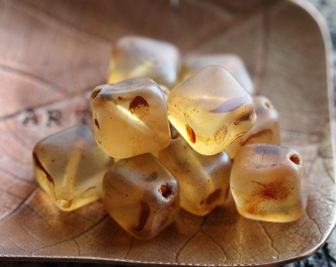 last ones .. EARTHY AMBER CUBES .. 10 Premium Matte Picasso Czech Glass Diagonal Cube Beads 9x7mm (8393-10)