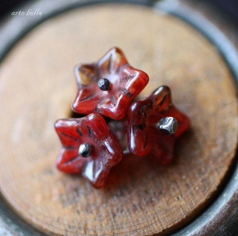 BETSY .. 10 Premium Picasso Czech Glass Bell Flower Beads 5x8mm (1834-10) photo