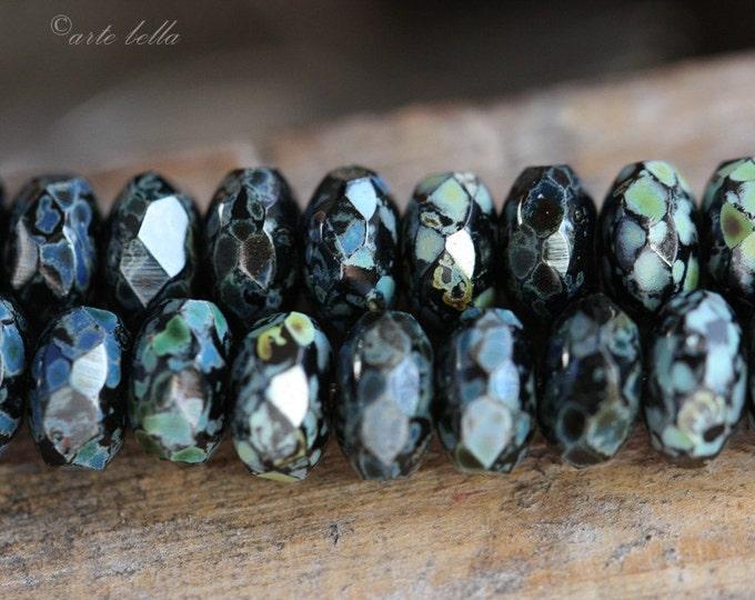 TWILIGHT PEBBLES .. 10 Premium Picasso Czech Glass Rondelle Bead 5x7mm (167-10)