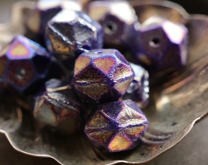BRONZE VIOLET NUGGETS .. 10 Premium Etched Czech Glass English Cut Beads 10mm (8849-10)
