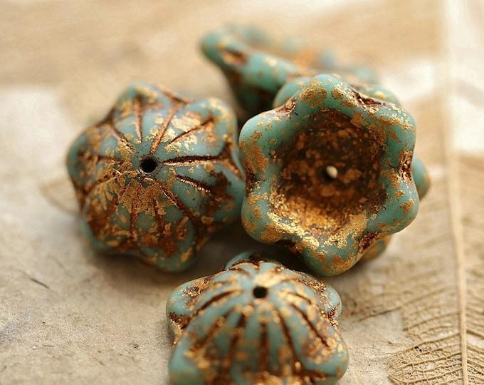 GOLDEN BLUE WHIMSY .. New 6 Premium Picasso Czech Glass Bell Flower Beads 14x6mm (8913-6)