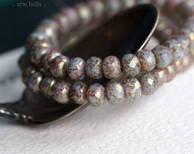HUSH BABIES No. 2 .. 30 Premium Picasso Czech Faceted Rondelle Beads 3x5mm (7162-st)