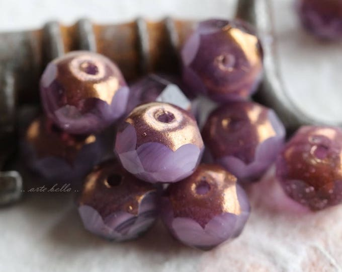 GILDED LAVENDER .. 10 Premium Czech Picasso Rondelle Glass Beads 6x9mm (5840-10)