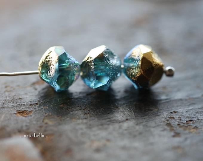 GOLDEN MYSTIC AQUA Nuggets .. New 10 Premium Etched Czech Glass Central Cut Baroque Beads 9mm (9188-10)
