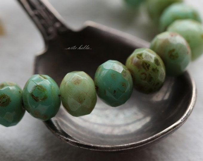 sale .. AGED MIXED BITS No. 2 .. 25 Premium Picasso Czech Faceted Rondelle Beads 5x7mm (5625-st)