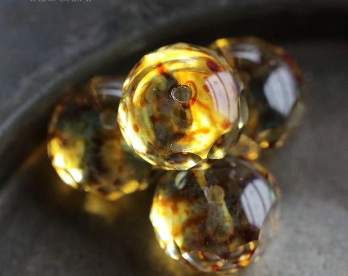 GOLDEN JUMBO WHISPERS .. 6 Premium Picasso Czech Glass Rondelle Beads 9x14mm (810-6)