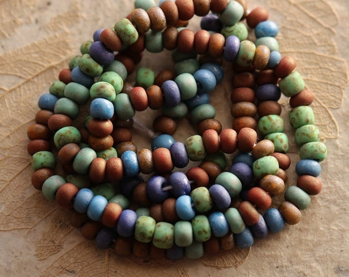 """EARTHY FOREST SEEDS No. 8713 .. 20"""" Premium Picasso Czech Matte Etched Glass Aged Seed Bead Mix Size 5 (8713-st)"""