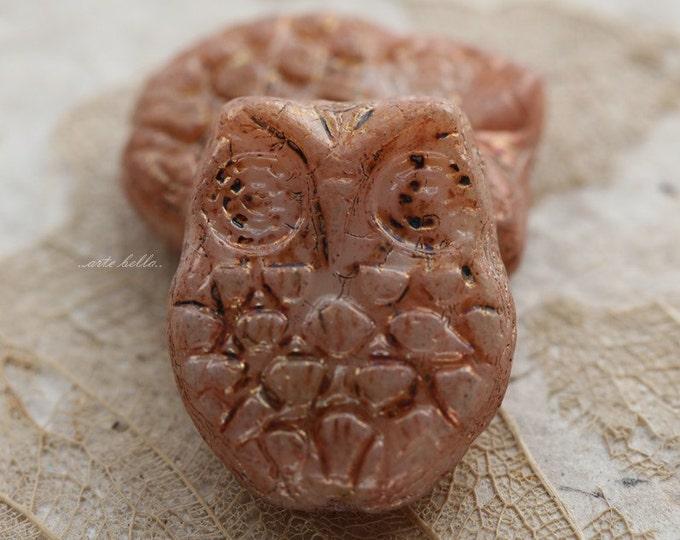 PEACHY PINK HOOTS .. 2 Premium Picasso Czech Glass Owl Beads 18x15mm (5387-2)