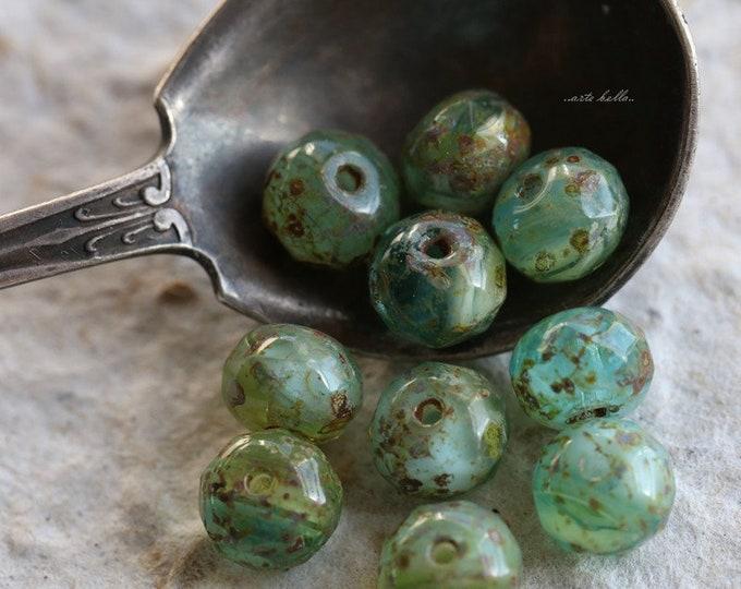 sale .. PRAIRIE SKIES .. 10 Premium Picasso Czech Glass Rondelle Beads 7x5mm (469-10)