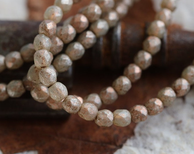 COPPER CASHMERE BITS 3mm .. 50 Etched Picasso Czech Glass Faceted Round Beads (7062-st)