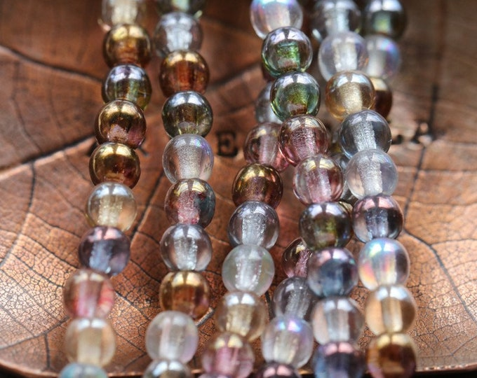 LUSTER MARBLE MIX 4mm .. 100 Premium Picasso Luster Czech Glass Round Druk Beads (8209-st)
