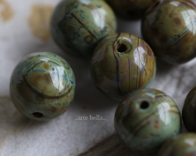 AVOCADO MARBLES 8mm .. NEW 10 Premium Picasso Czech Glass Druk Beads (6471-10)