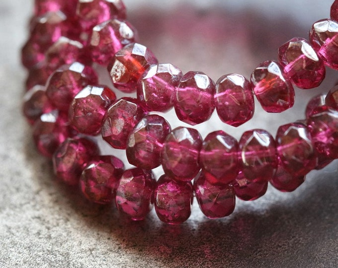 SILVERED MULBERRY GLITZ .. 30 Premium Czech Glass Faceted Rondelle Beads 3x5mm (7912-st)