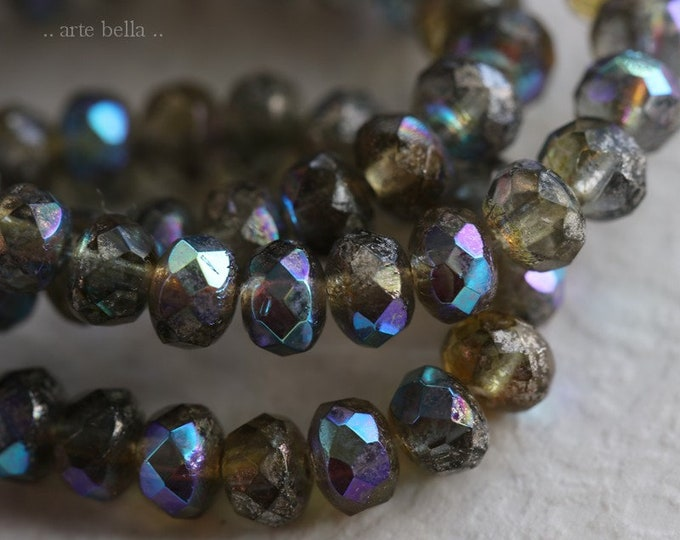 MERCURY GREY BABIES .. 30 Premium Picasso Czech Mercury Glass Rondelle Beads 3x5mm (6889-st)