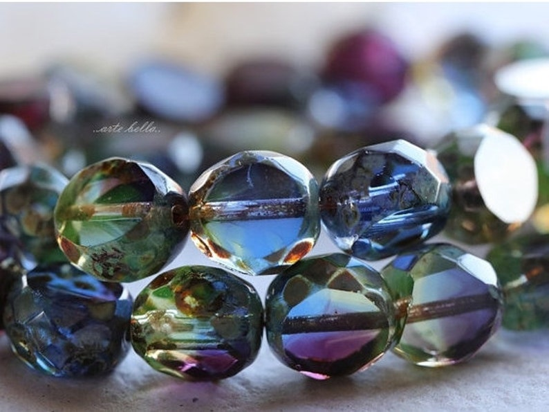 ROYALTY SLABS .. 6 Premium Picasso Czech Table Cut Faceted Glass Beads 12mm (4951-6) photo