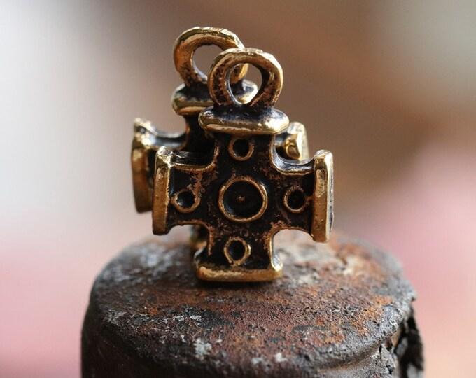 DECO CROSS No. 226 .. 4 Mykonos Greek Cross Charm Beads 12x16mm (M226-4)