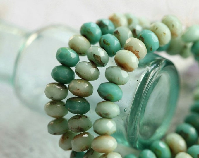 MIXED BITS .. 30 Premium Picasso Czech Glass Faceted Rondelle Beads 3x5mm (3732-st)