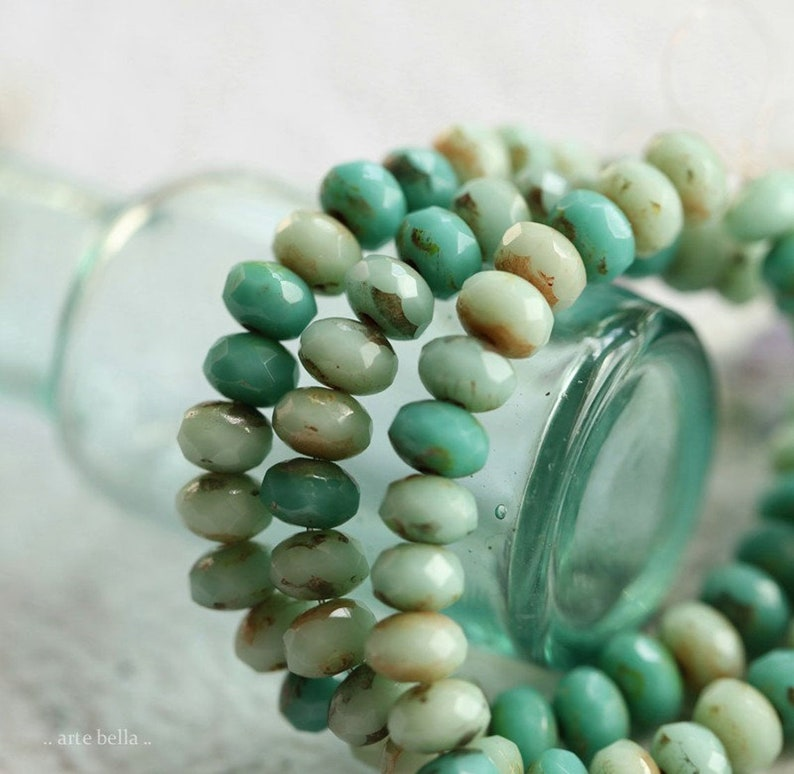 MIXED BITS .. 30 Premium Picasso Czech Glass Faceted Rondelle Beads 3x5mm (3732-st) photo