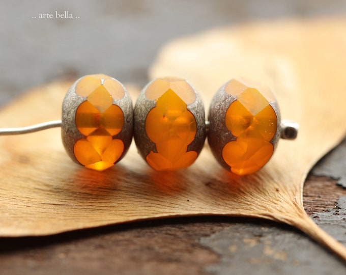 PEWTER GOLDEN ORANGES .. New 10 Premium Picasso Czech Glass Faceted Rondelle Beads 9x7mm (9080-10)