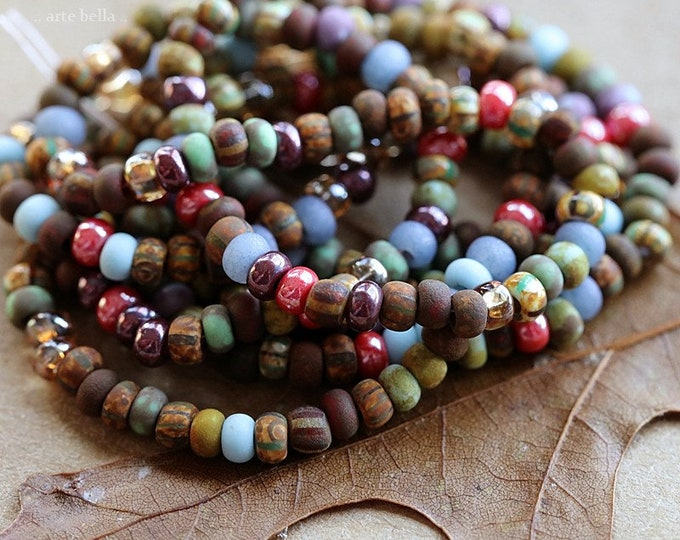 """MATTE ROYALTY SEED Mix No. 8721 .. 20"""" Premium Picasso Matte Luster Aged Striped Czech Glass Seed Bead Mix Size 8/0 (8721-st)"""