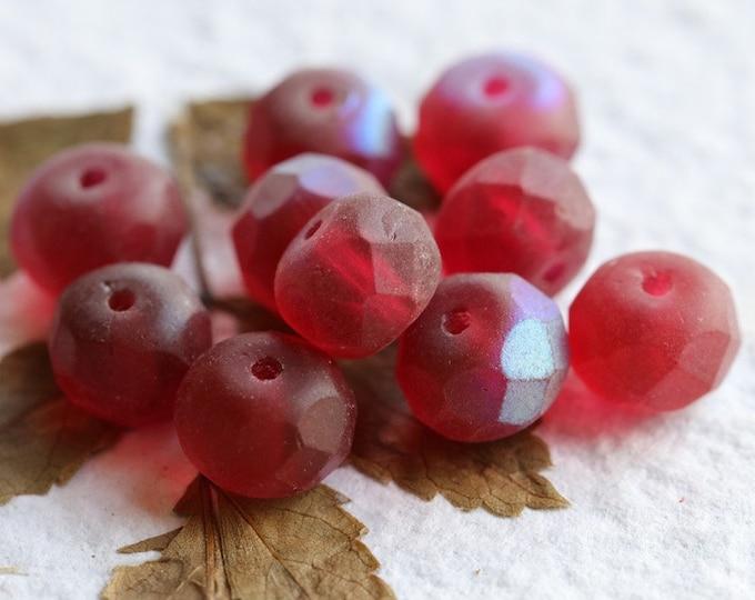 MYSTIC MULBERRY CRUSH  .. 10 Premium Czech Matte Glass Rondelle Beads 6x8-9mm (8111-10)