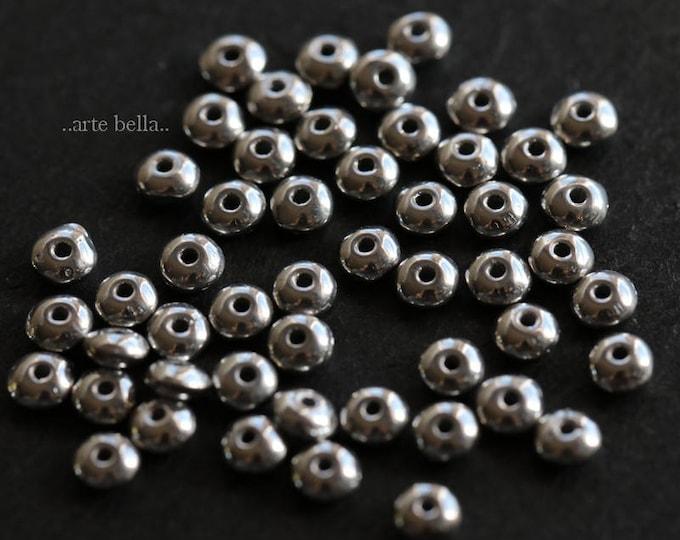 SILVERED METALLIC BITS .. 50 Premium Czech Glass Rondelle Beads 2x3mm (6145-50)