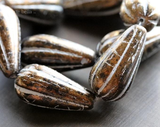 GOLDEN BLACK MELON Drops No. 2 .. 6 Premium Picasso Czech Glass Melon Drop Beads 22x11mm (8450-st)