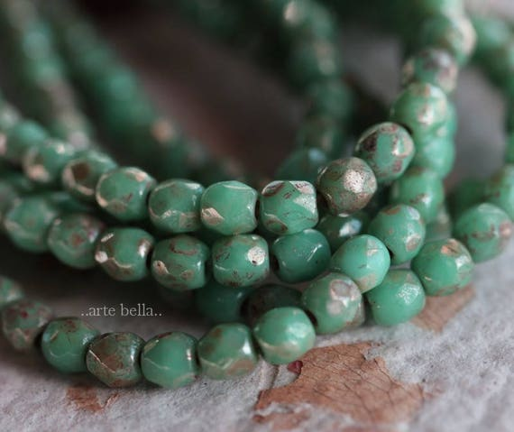 Opaque Green Turquoise Picasso 4mm 50 Czech Glass Faceted Round Beads
