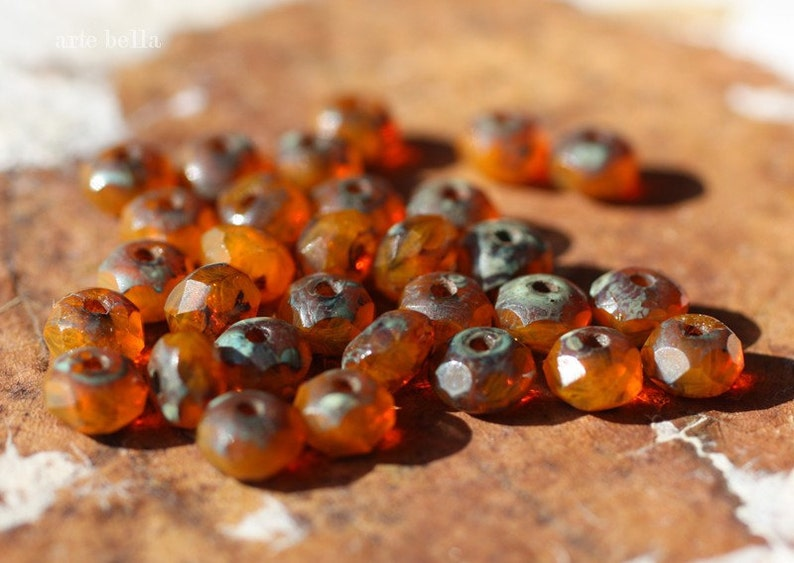 RIPE MANGO .. 30 Premium Picasso Czech Glass Faceted Rondelle Beads 3x5mm (1980-st) photo