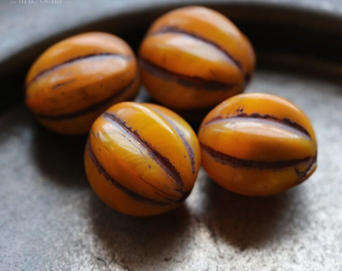 EARTHY SQUASH MELONS 12mm .. 6 Premium Picasso Czech Glass Melon Beads (7196-6)