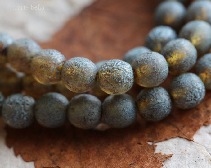 BLUE TOASTED ALMONDS 6mm .. 30 Premium Picasso Czech Glass Etched Druk Beads (6976-st)