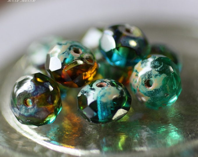 last ones .. CABO .. 10 Premium Picasso Czech Glass Rondelle Beads 6x8mm (2261-10)