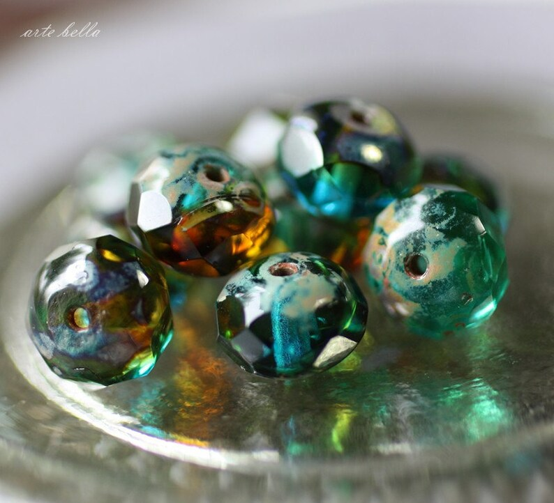 CABO .. 10 Premium Picasso Czech Glass Rondelle Beads 6x8mm (2261-10) photo