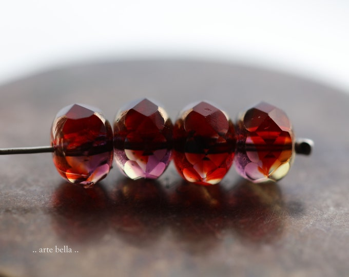 BRONZED UMBRIAN SUNSET .. New 10 Premium Czech Glass Faceted Rondelle Beads 8x6mm (9193-10)